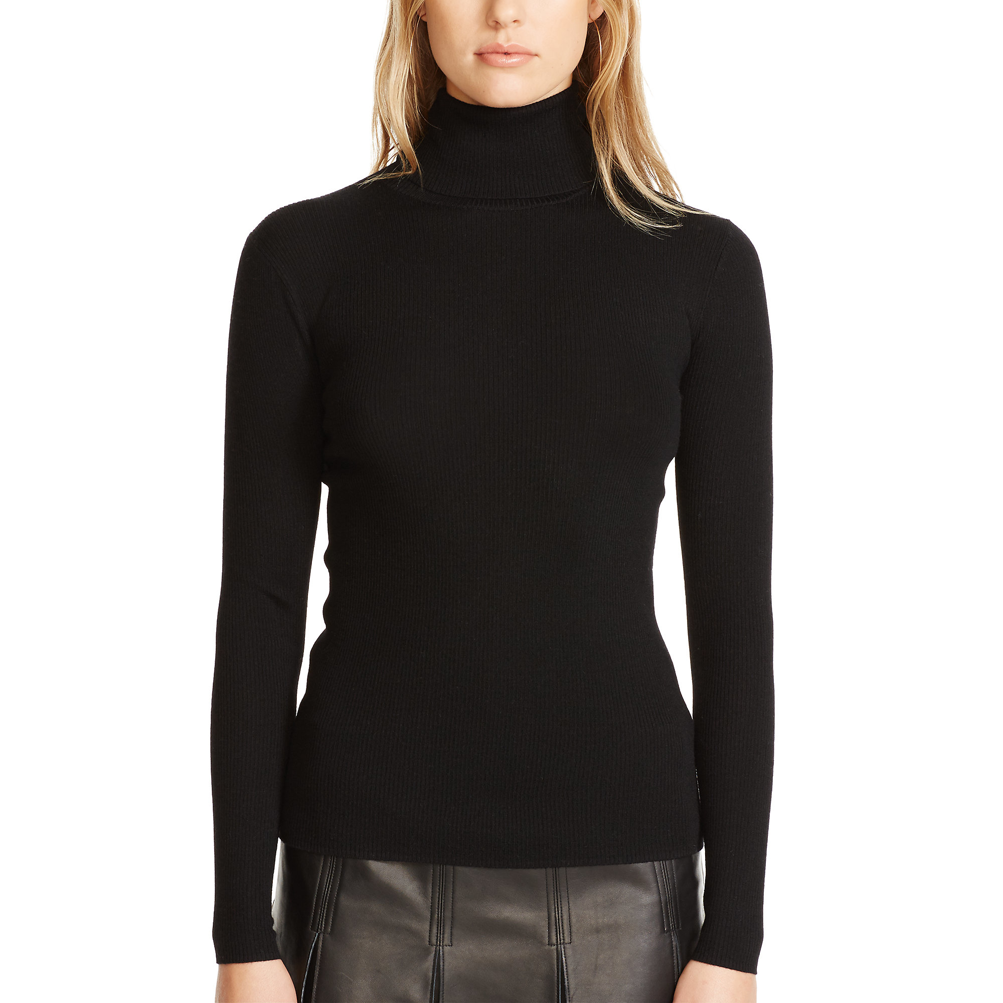 Polo ralph lauren Ribbed Merino Wool Turtleneck in Black | Lyst
