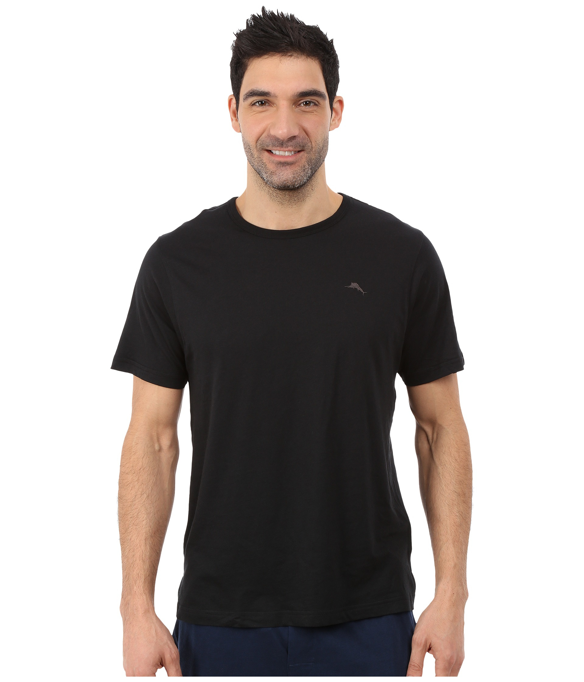 Tommy bahama solid cotton modal jersey knit tee in black for Modal t shirts mens