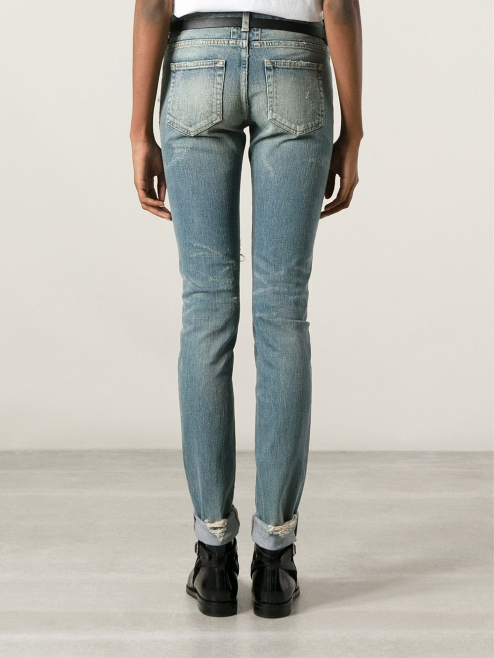 saint laurent ripped skinny jeans in blue lyst. Black Bedroom Furniture Sets. Home Design Ideas