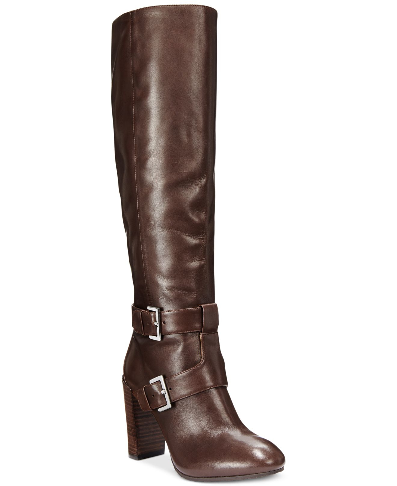 nine west skylight wide calf dress boots in brown lyst
