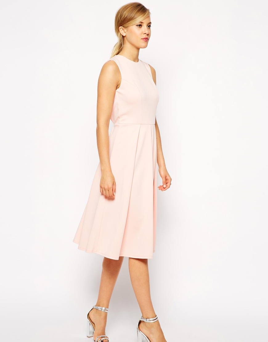 Asos Pleated Skater Midi Dress With Cut Out Back In Pink