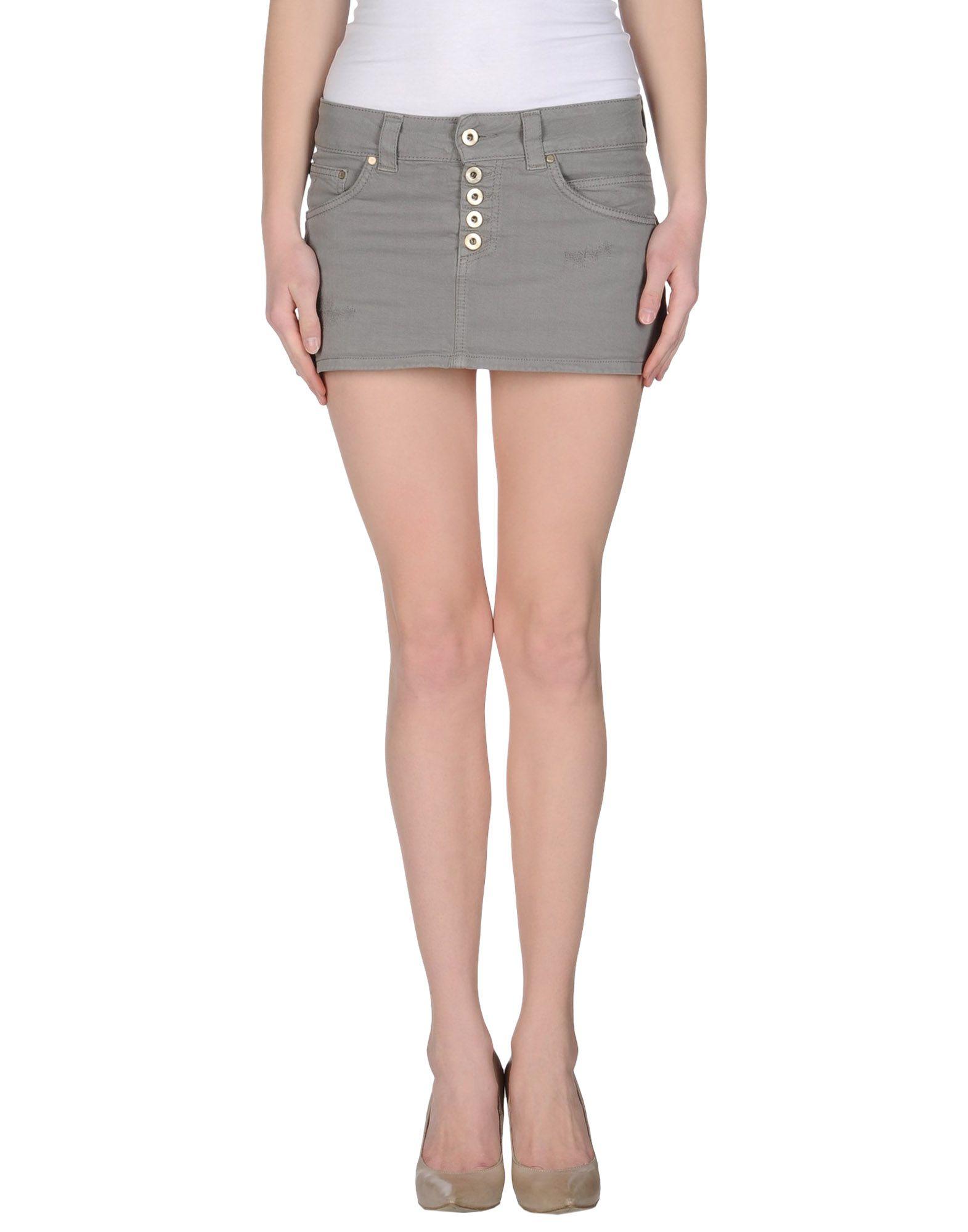 dondup gray denim skirt lyst