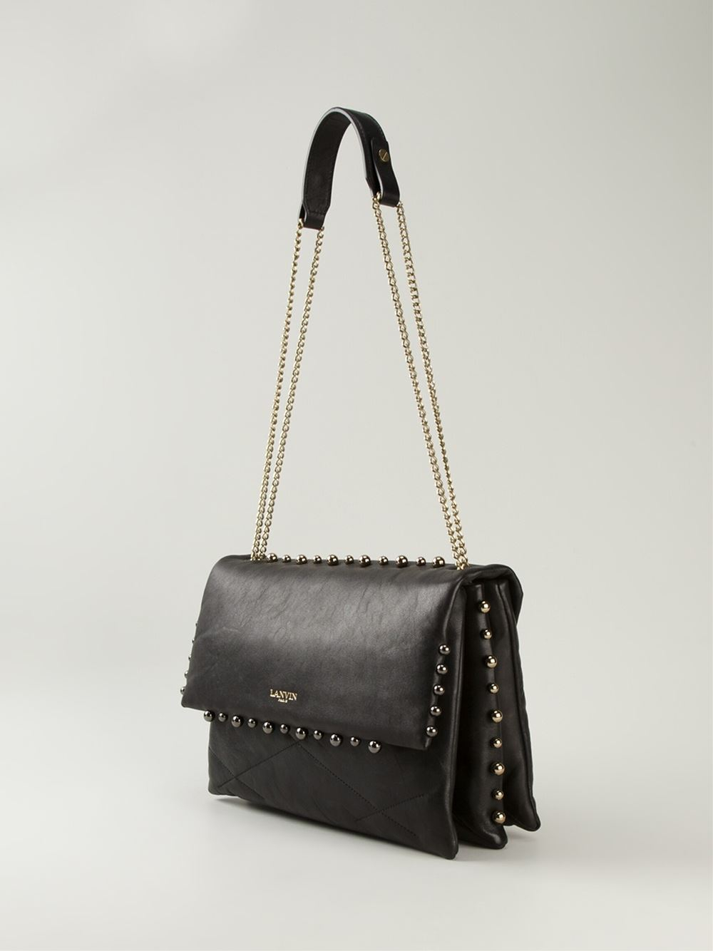 0a5e44d0d145 Lyst - Lanvin  Sugar  Studded Shoulder Bag in Black
