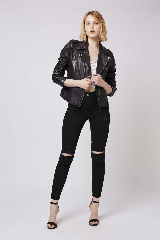 lyst topshop petite black rip joni jeans in black. Black Bedroom Furniture Sets. Home Design Ideas