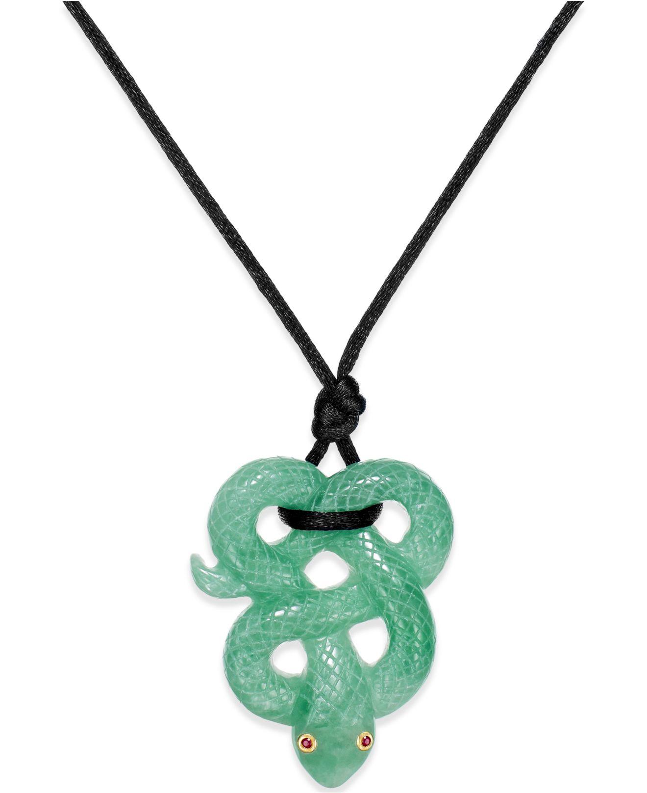 no vendor ruby accent jade snake pendant necklace in silk