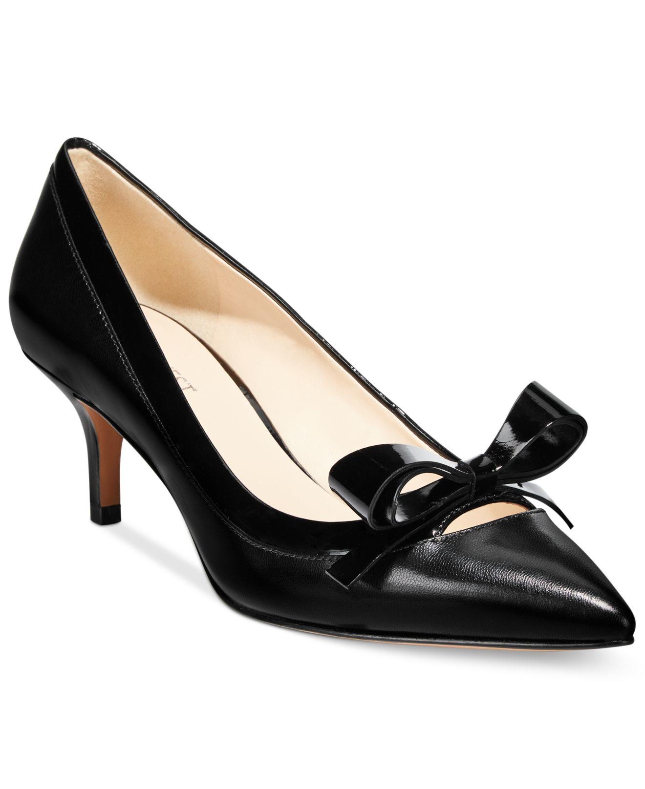 d339dcc09e3 Lyst - Nine West Xenos Bow Kitten Heel Pumps in Black
