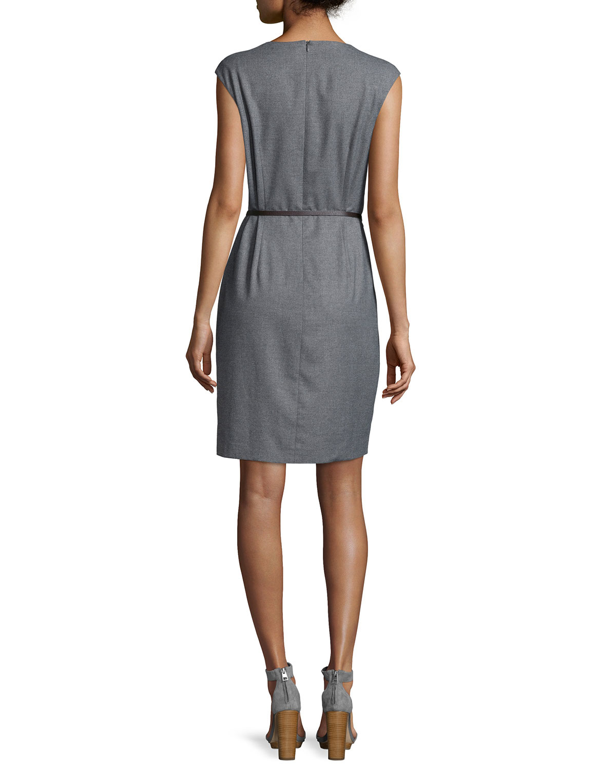 peserico sleeveless asymmetric belted sheath dress in gray
