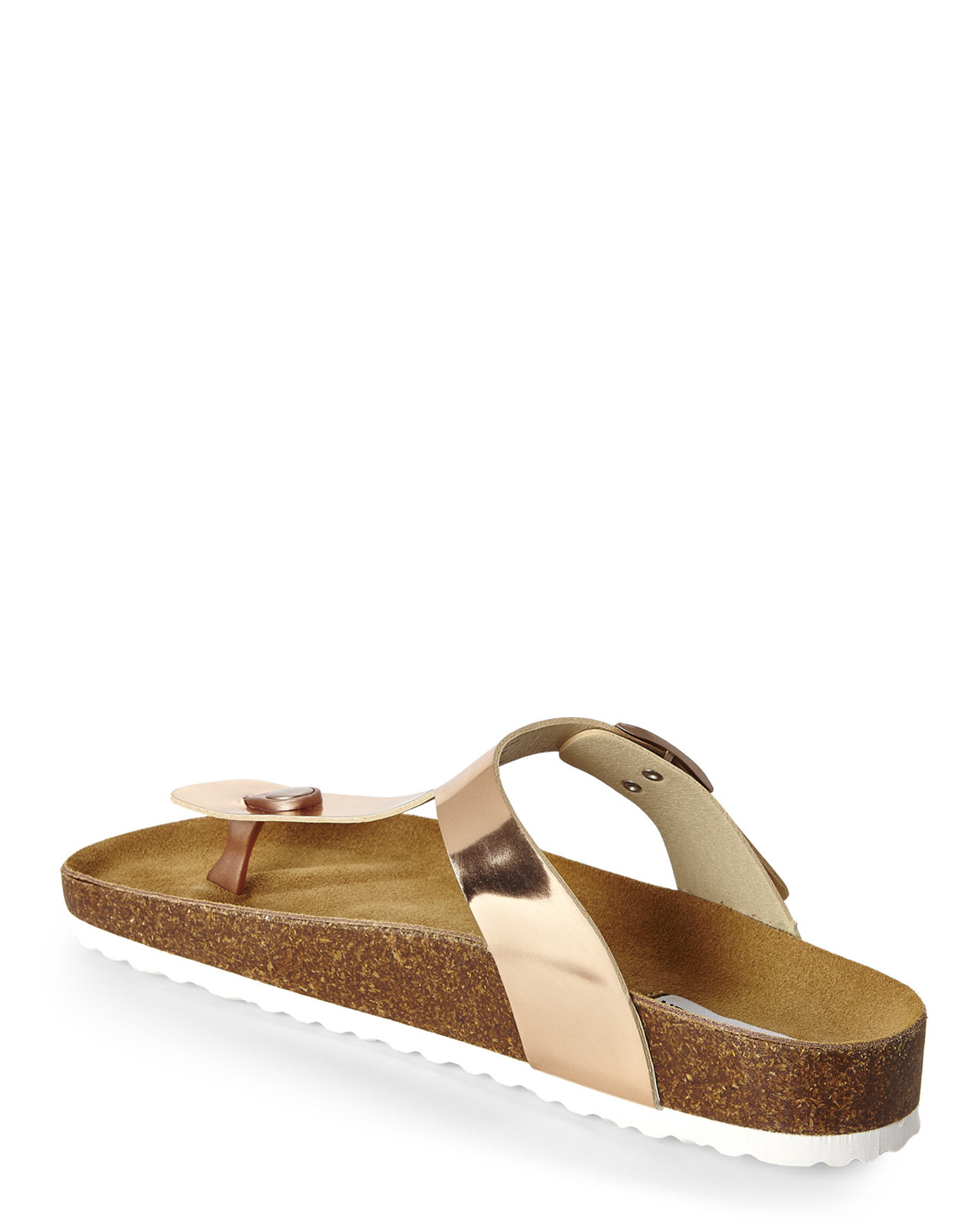 f825f190210d Steve Madden Rose Gold Footbed Thong Sandals in Metallic - Lyst