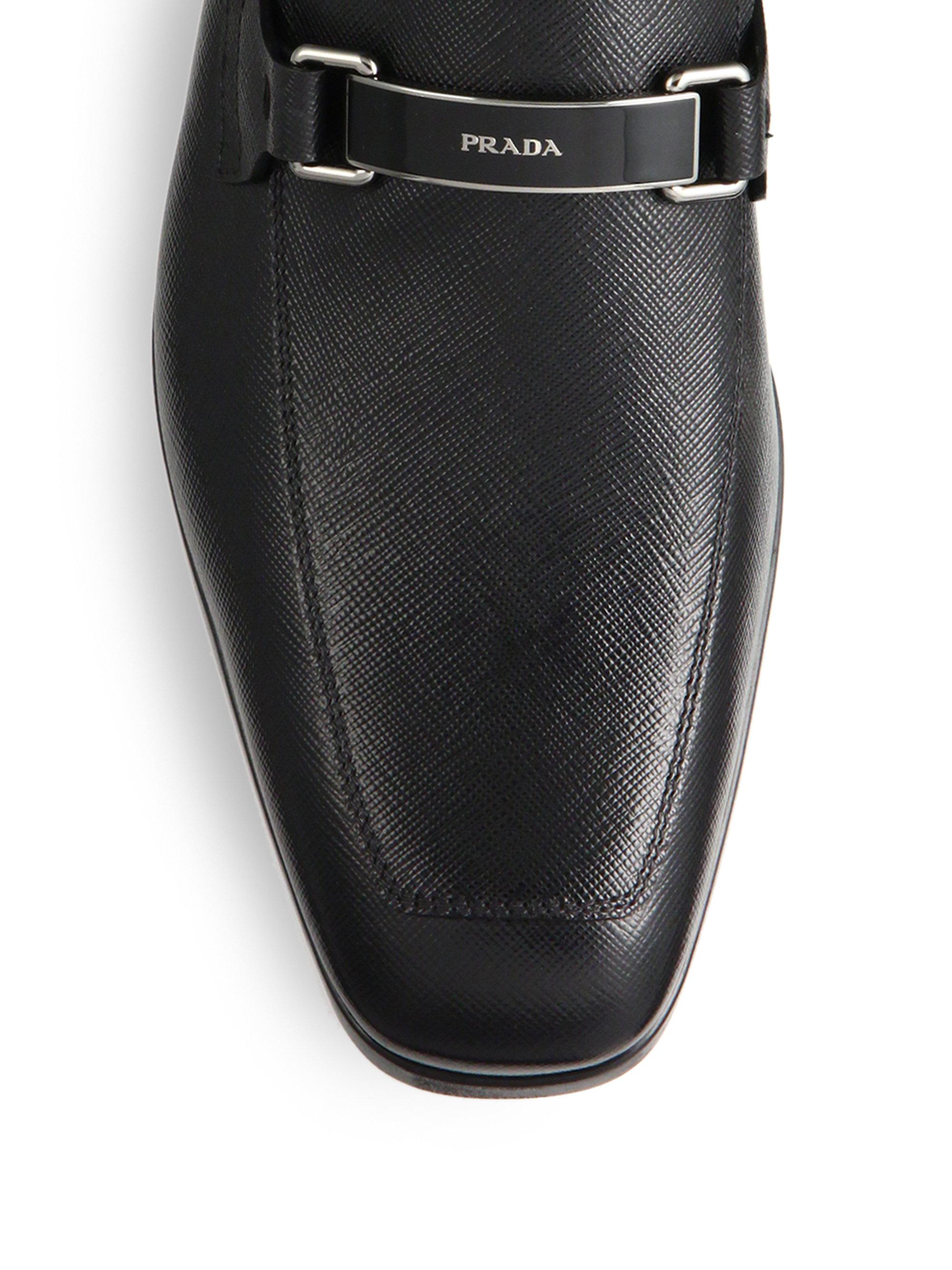 f562571f1a Prada Saffiano Logo Bit Loafers in Black for Men - Lyst
