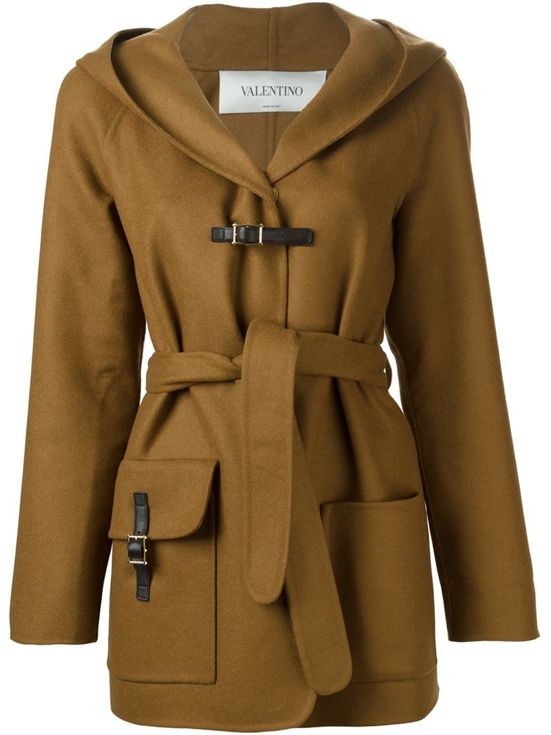Valentino Hooded Coat in Brown | Lyst