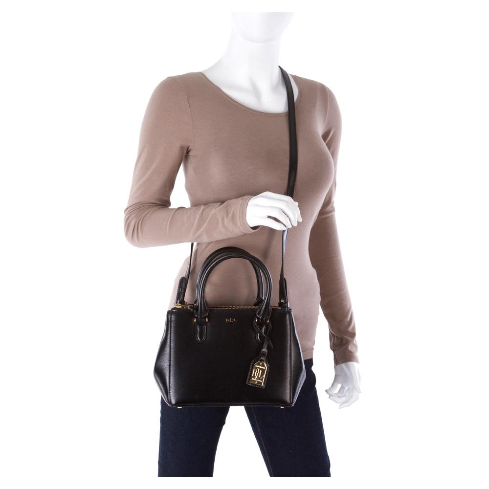 c0268ddb23596 Lyst - Lauren by Ralph Lauren Newbury Mini Double Zip Satchel in Black
