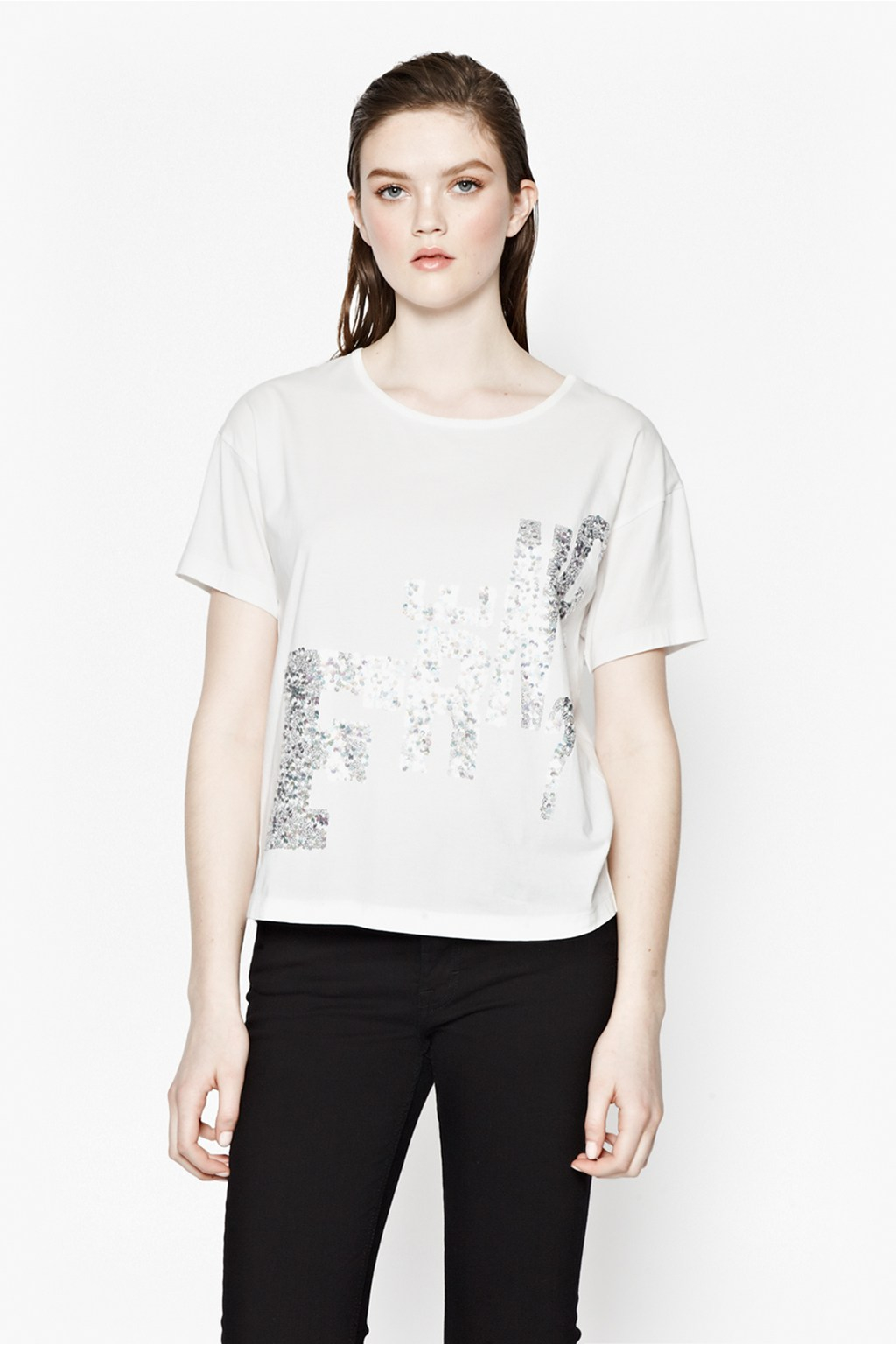 French Connection Glitter Graphic Top In White Lyst