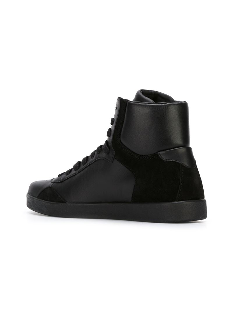 armani jeans logo high top sneakers in black for men lyst. Black Bedroom Furniture Sets. Home Design Ideas