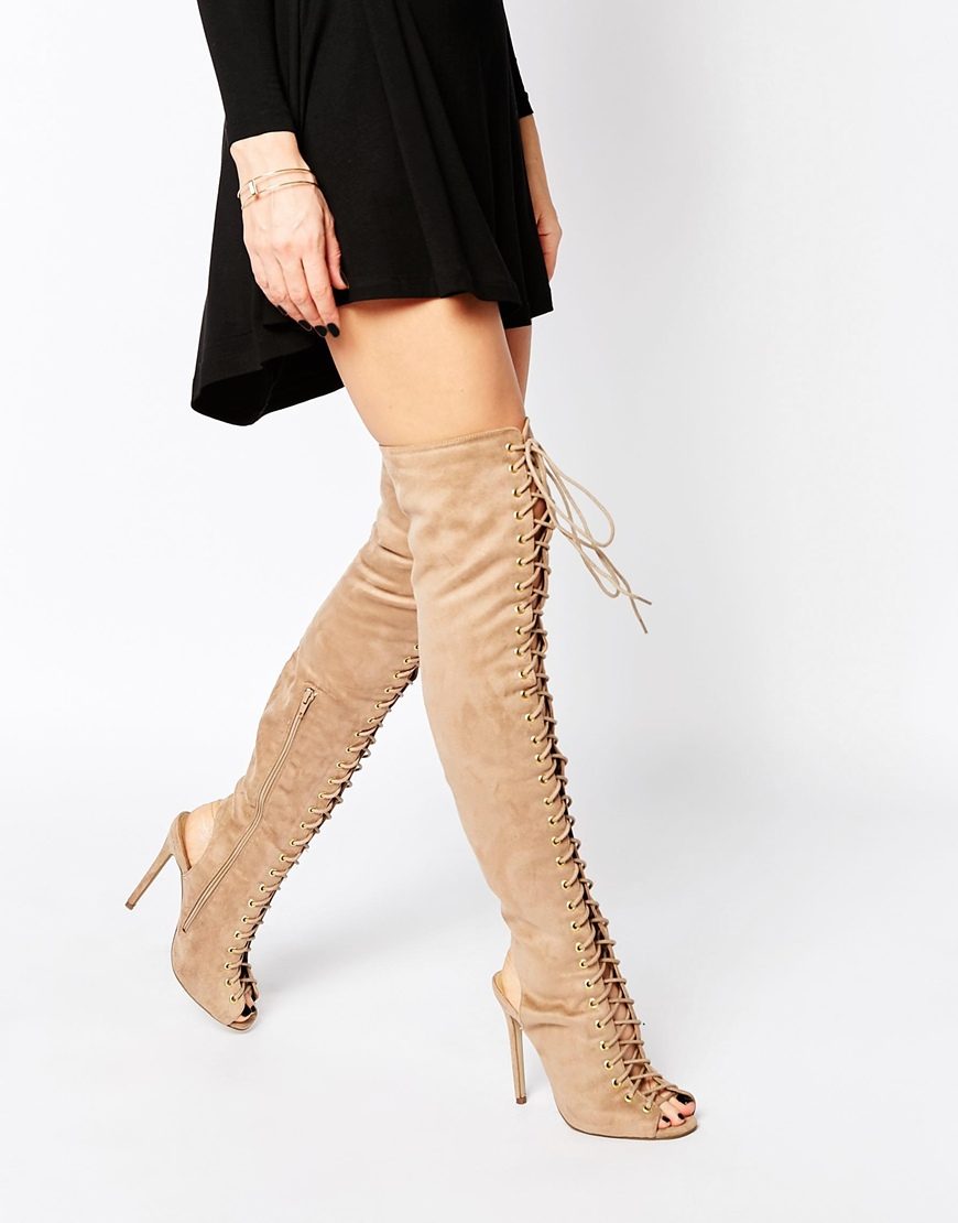 Missguided Over The Knee Lace Up Boot in Brown | Lyst