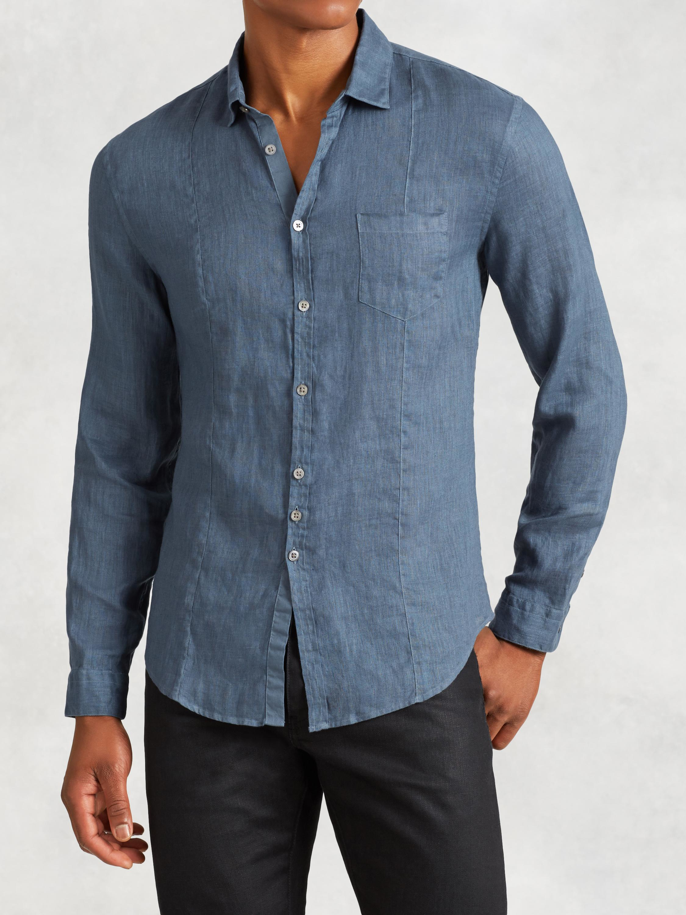 Often overshadowed by the ubiquity of cotton shirts, the men's linen shirt is the original technical fabric. Air easily flows through linen allowing your body to breathe, and the natural stiffness of the cloth makes it less likely to cling.