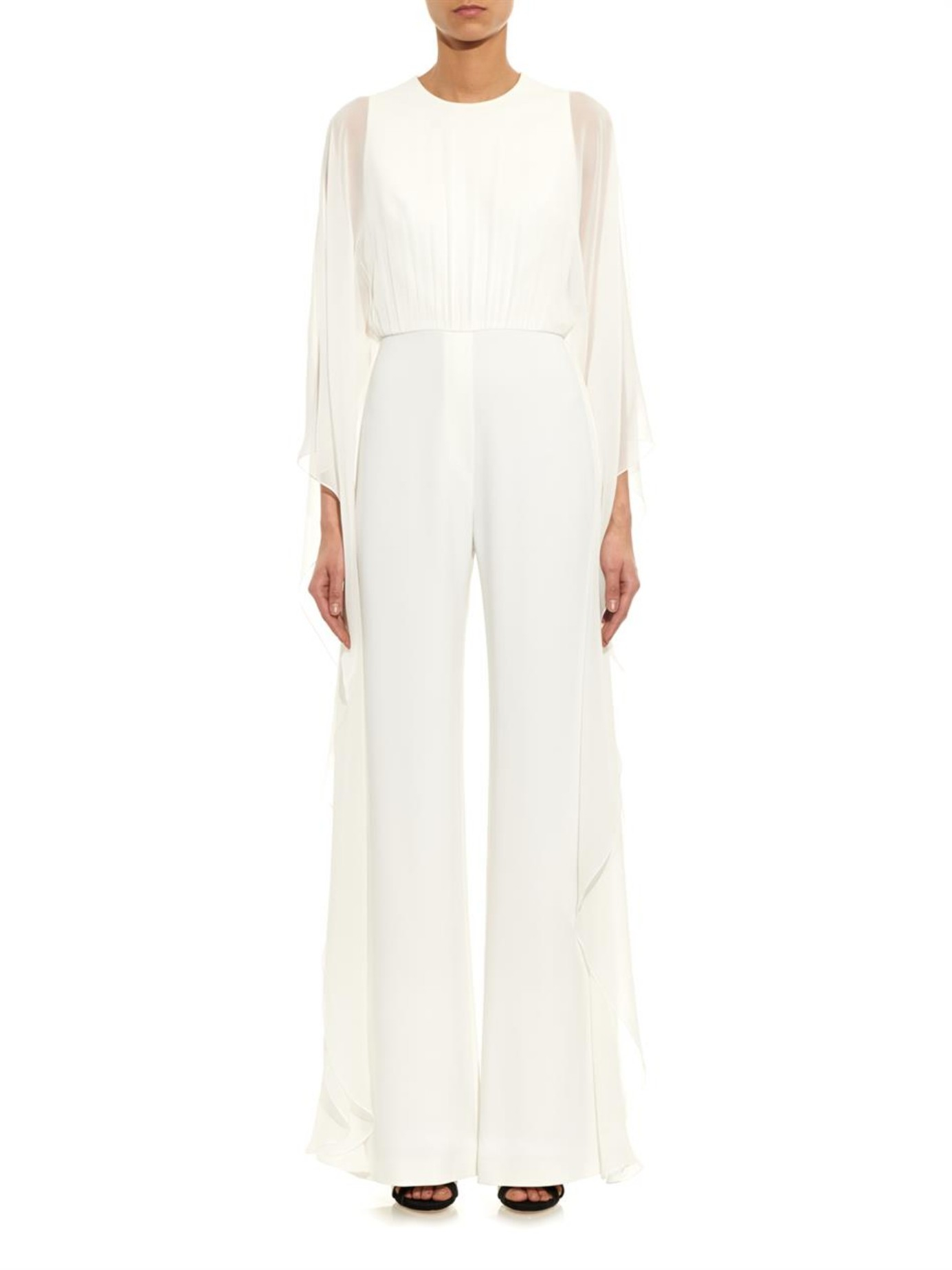 Lyst - Elie Saab Silk And Stretch-Cady Jumpsuit in White
