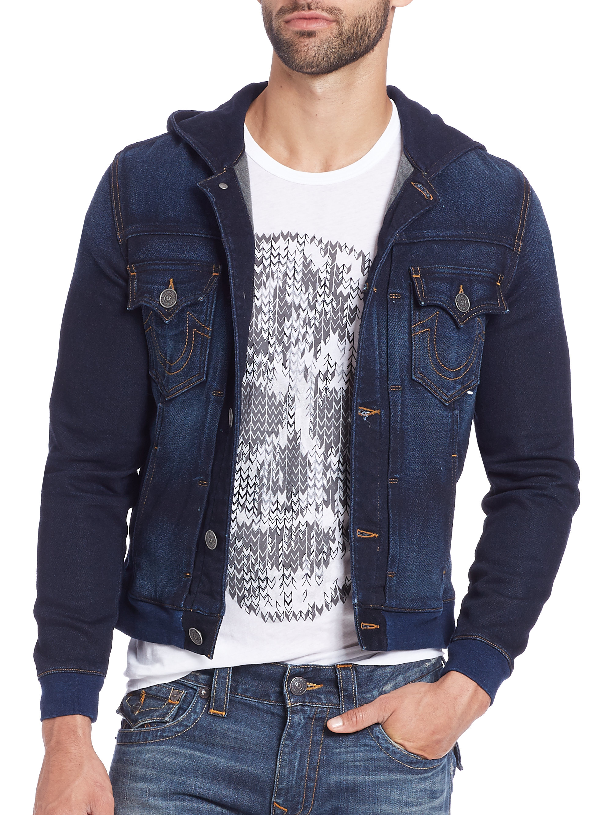 true religion dylan active denim jacket in blue for men lyst. Black Bedroom Furniture Sets. Home Design Ideas