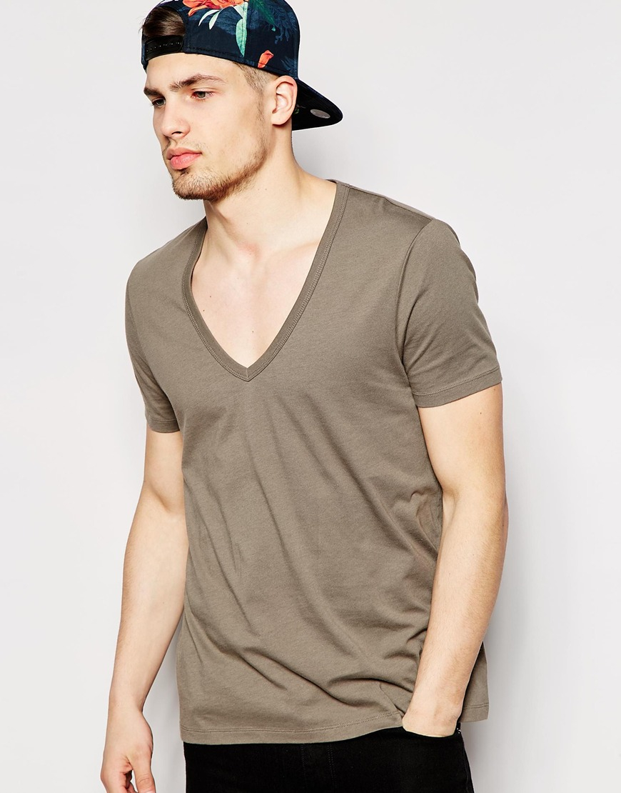 Asos t shirt with deep v neck in brown for men lyst for Mens chocolate brown dress shirt