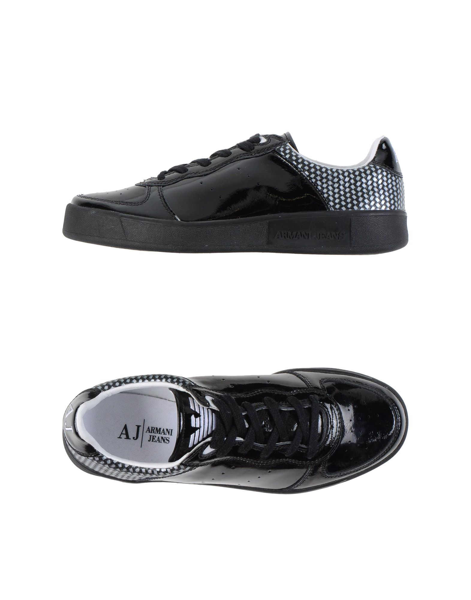 armani low tops trainers in black lyst