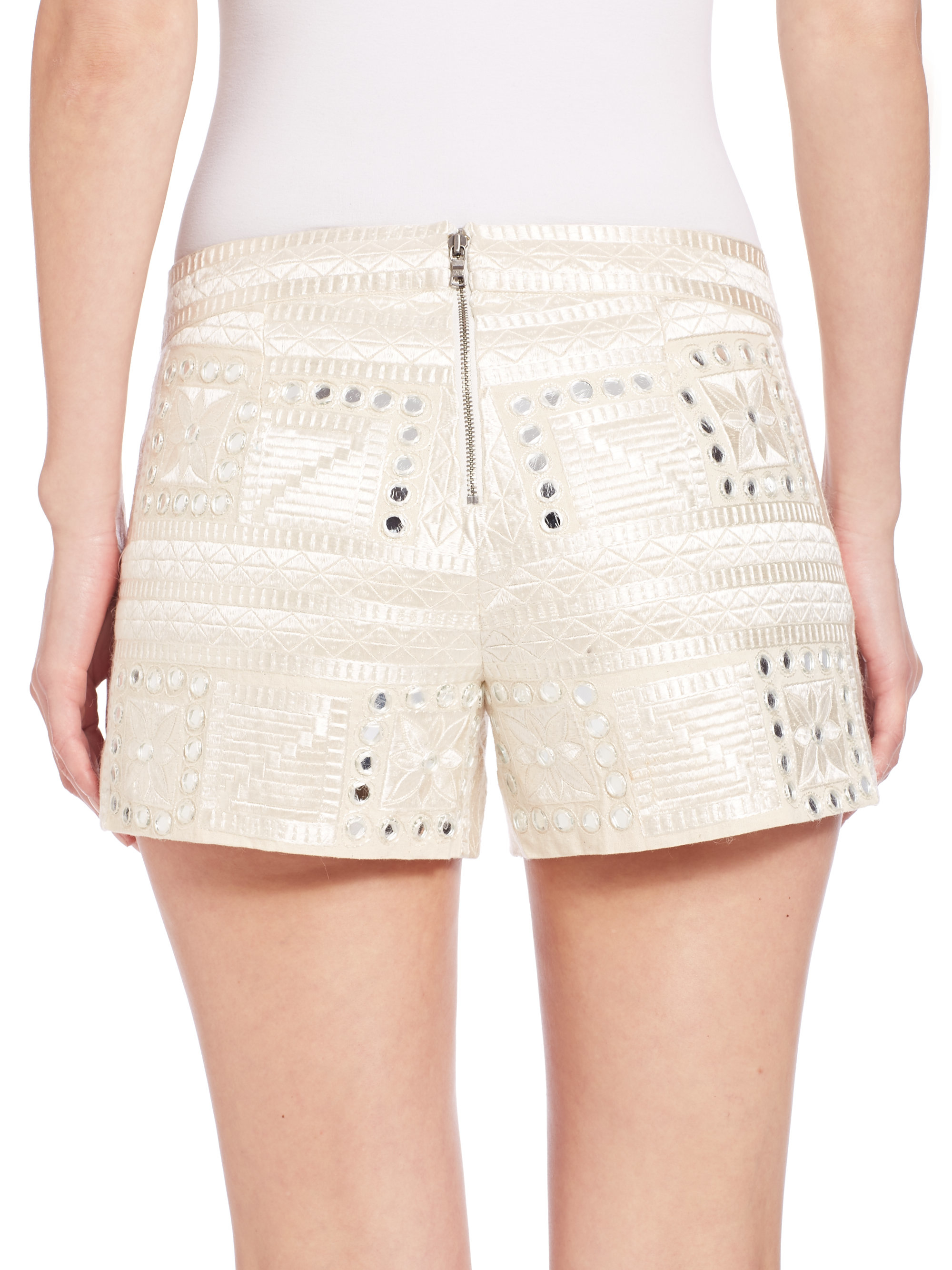 a8f169e4388d Lyst - Alice + Olivia Marisa Embroidered Back-zip Shorts in Natural
