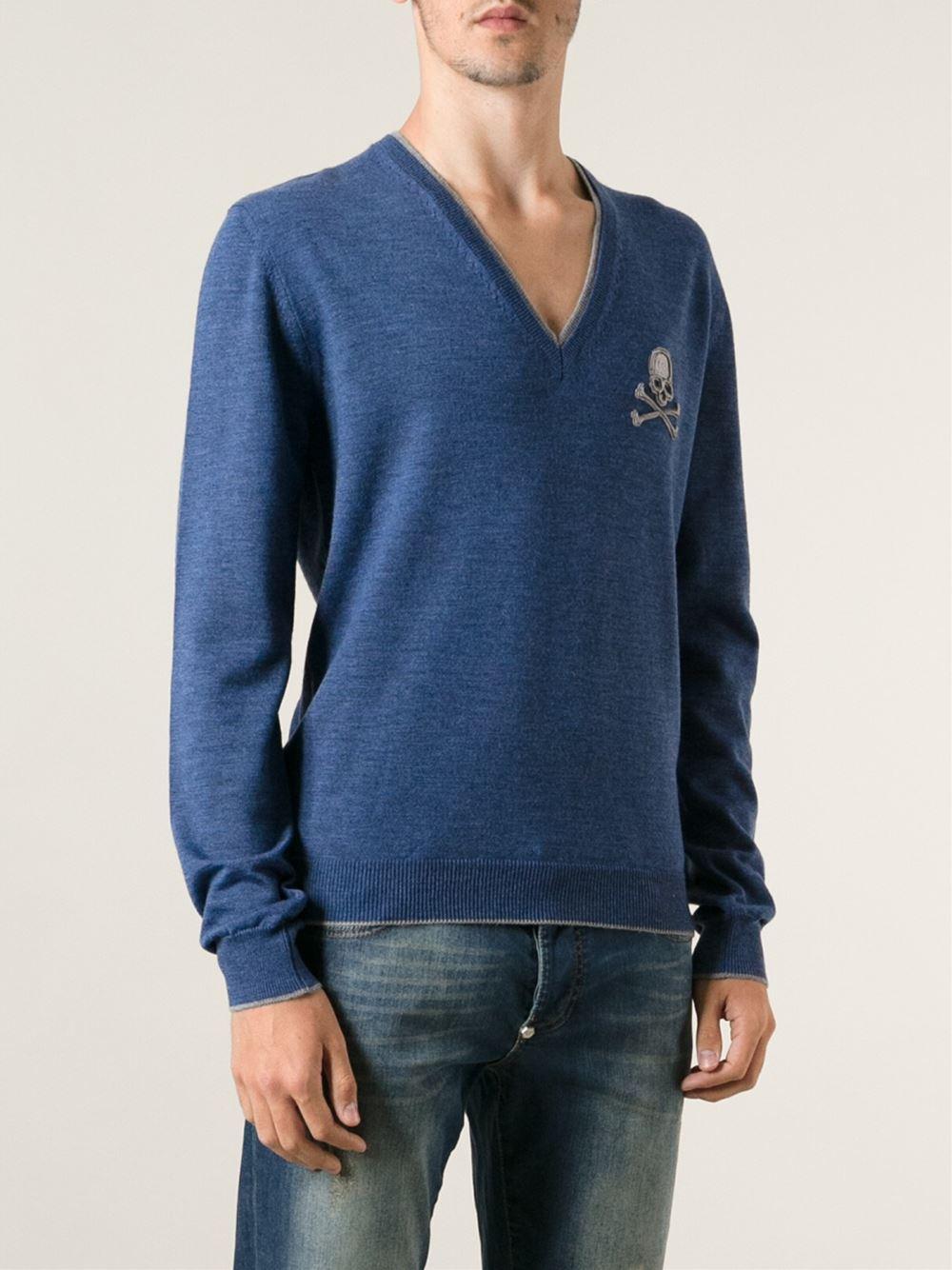 lyst philipp plein skull sweater in blue for men. Black Bedroom Furniture Sets. Home Design Ideas