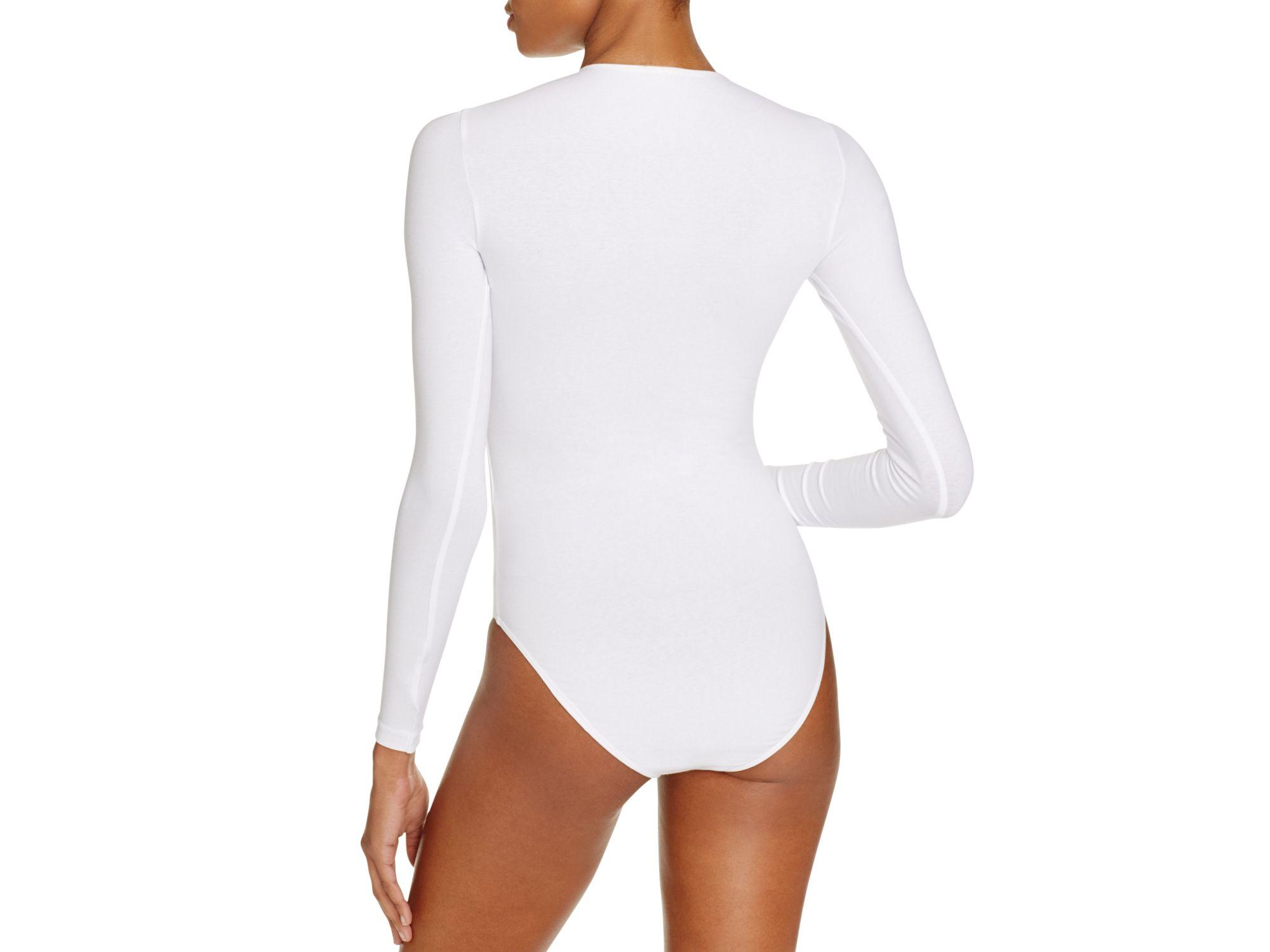 04c1094410 Lyst american apparel classic long sleeve bodysuit in white jpg 2000x1500 Body  suit apparel