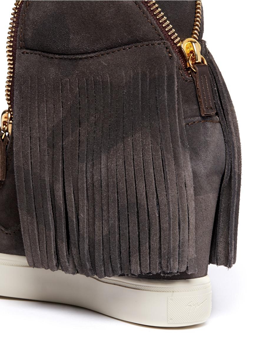49973f50353a8 Giuseppe Zanotti Lorenz Fringe Suede Wedge Sneakers in Gray - Lyst