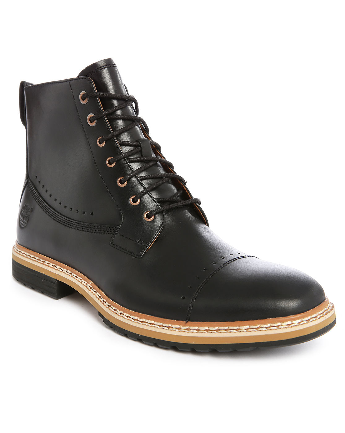 timberland lace up leather ankle boots in black for lyst