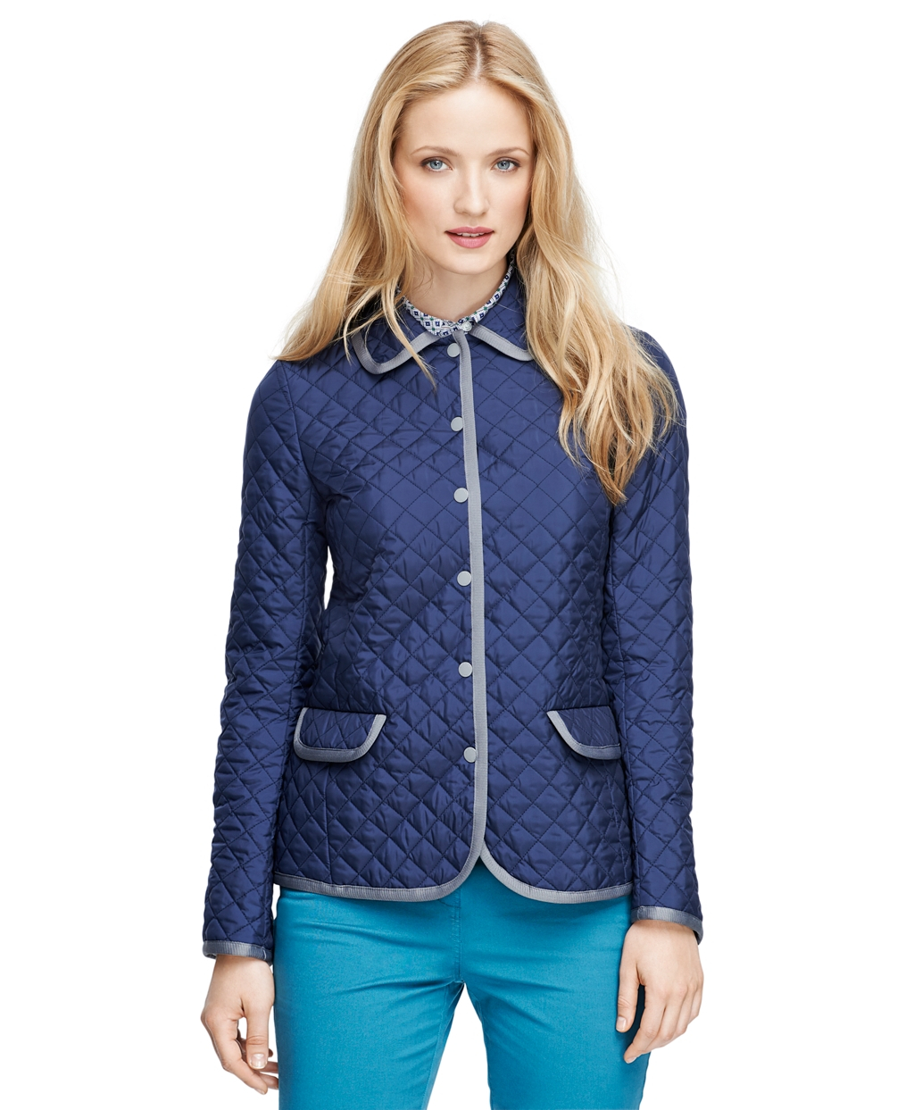 Lyst Brooks Brothers Long Sleeve Quilted Jacket In Blue