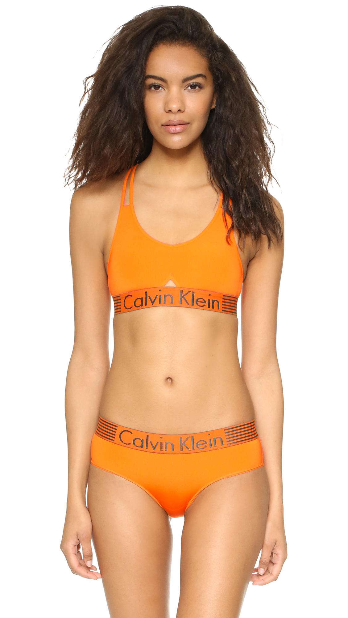 88dc88f7ebb Calvin Klein Iron Strength Micro Bralette in Orange - Lyst