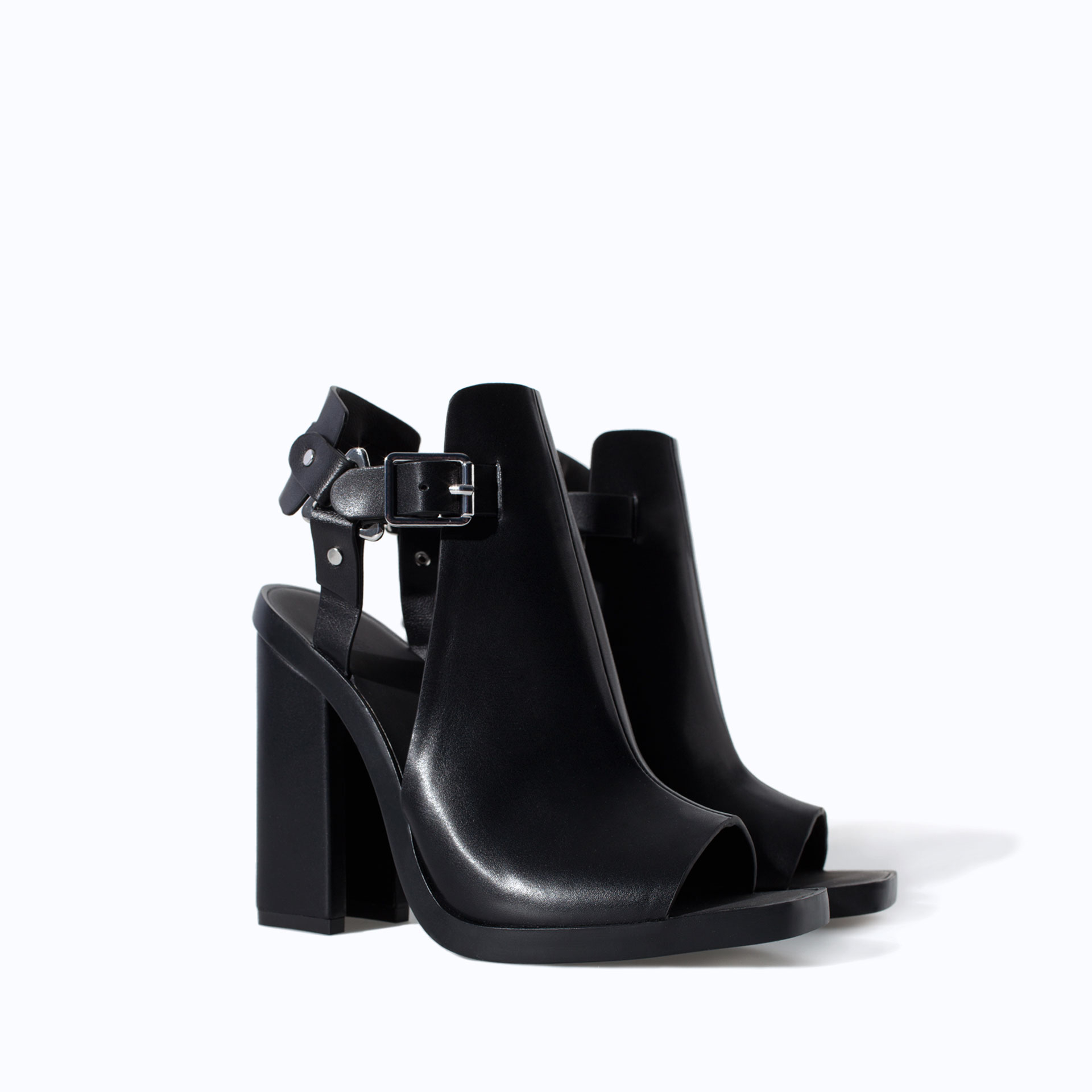 Zara Block Heel Sandal With Buckle In Black Lyst