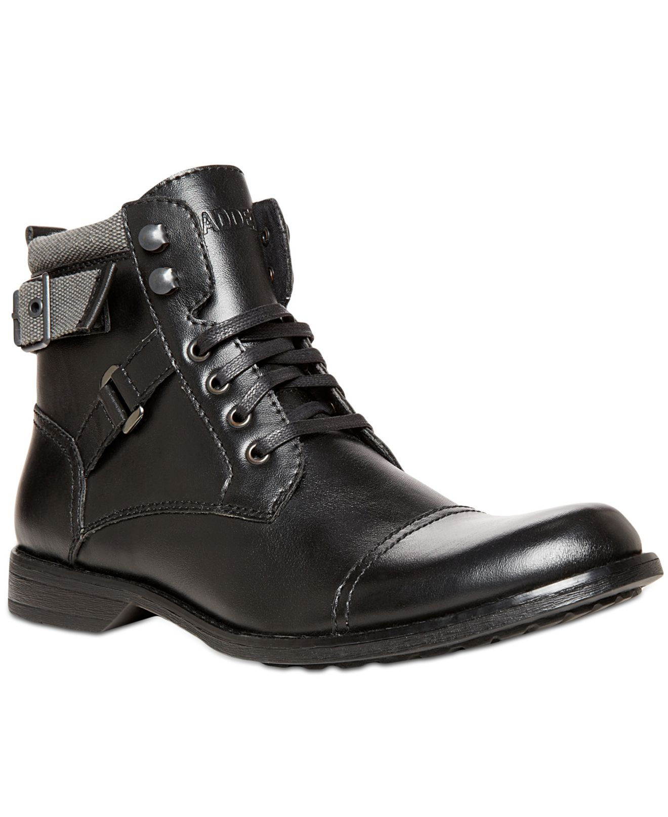 lyst steve madden madden kooper lace up boots in black