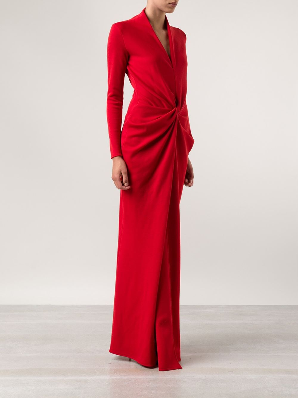 Red Lyst Long Lanvin Gown Jersey In qrPgPXwUTx