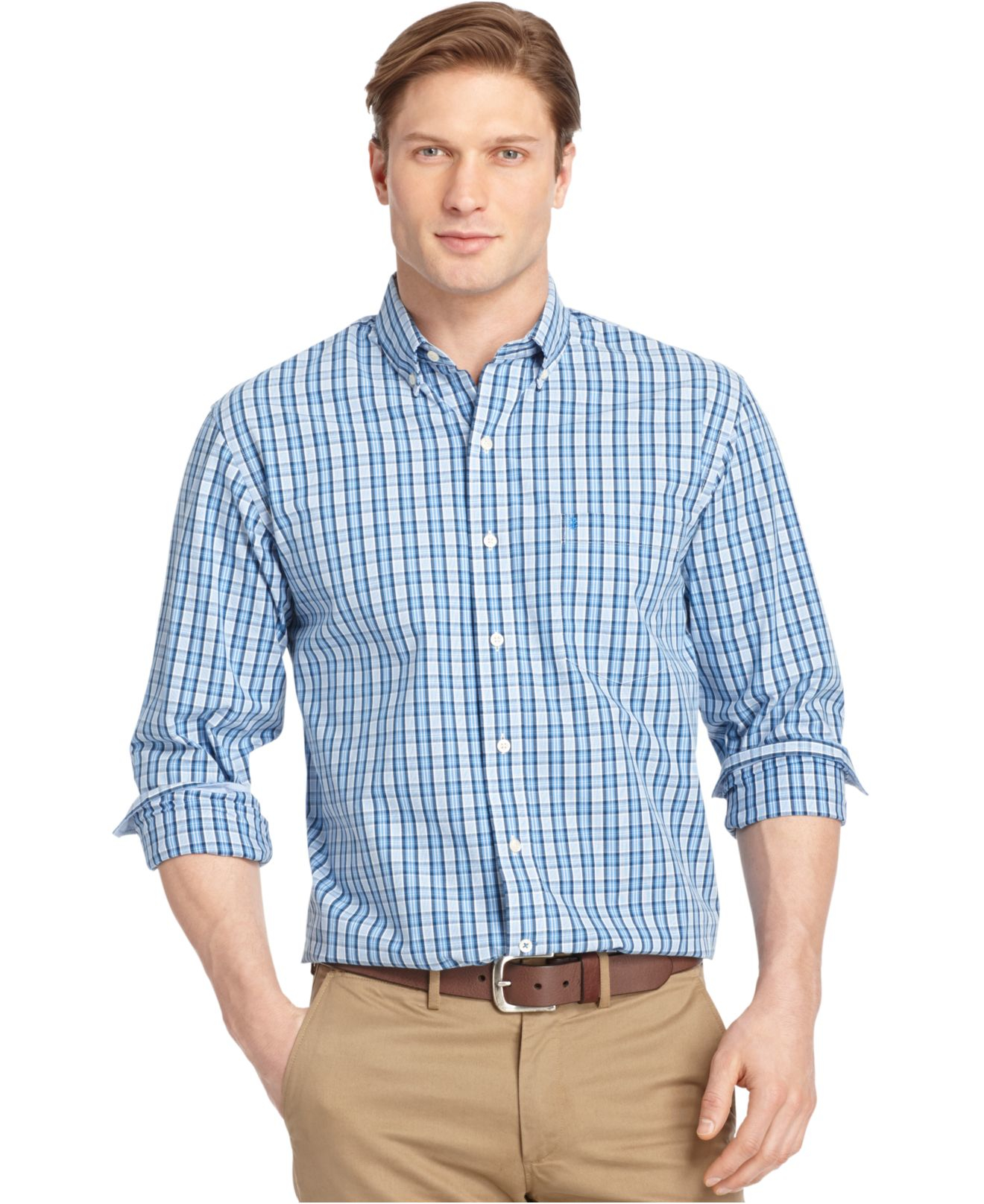 Lyst izod big and tall plaid long sleeve shirt in blue for Big and tall long sleeve shirts