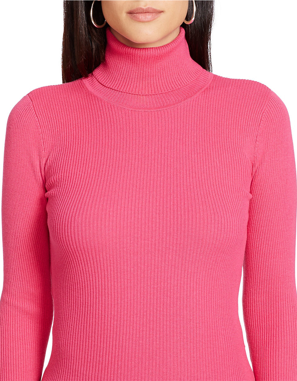 Lauren by ralph lauren Ribbed Turtleneck Sweater in Pink | Lyst