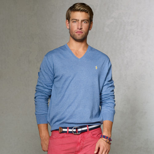 c6bcc3f06677 Lyst - Polo Ralph Lauren Pima Cotton Vneck Sweater in Blue for Men