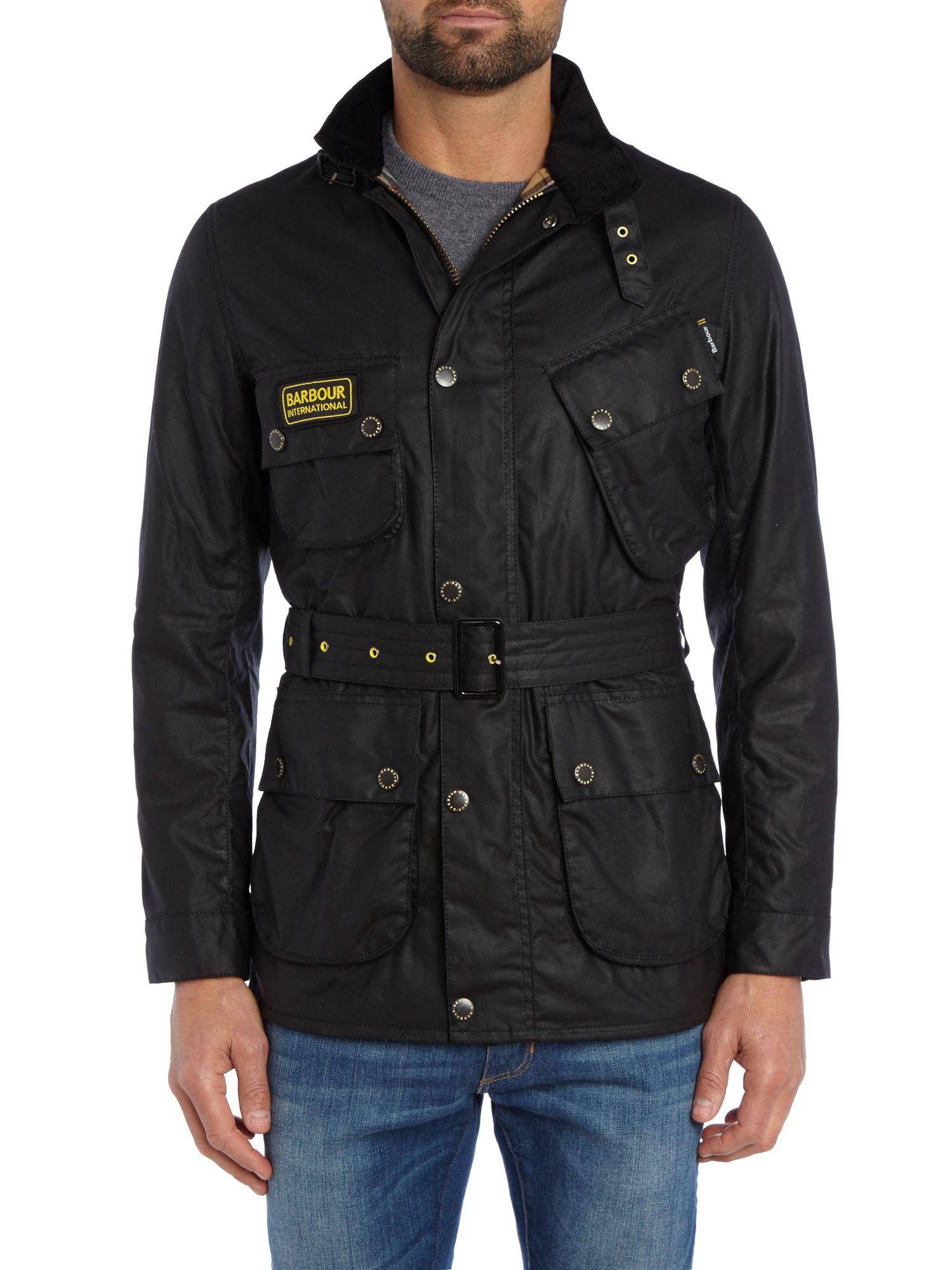 Barbour Slim International Wax Jacket in Black for Men