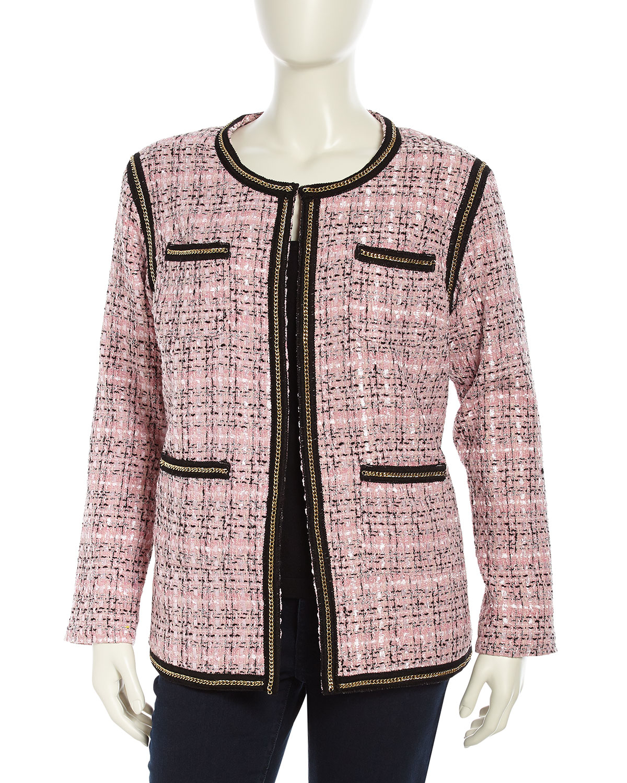 Michael Simon Chain Link Detail Tweed Jacket In Pink Lyst