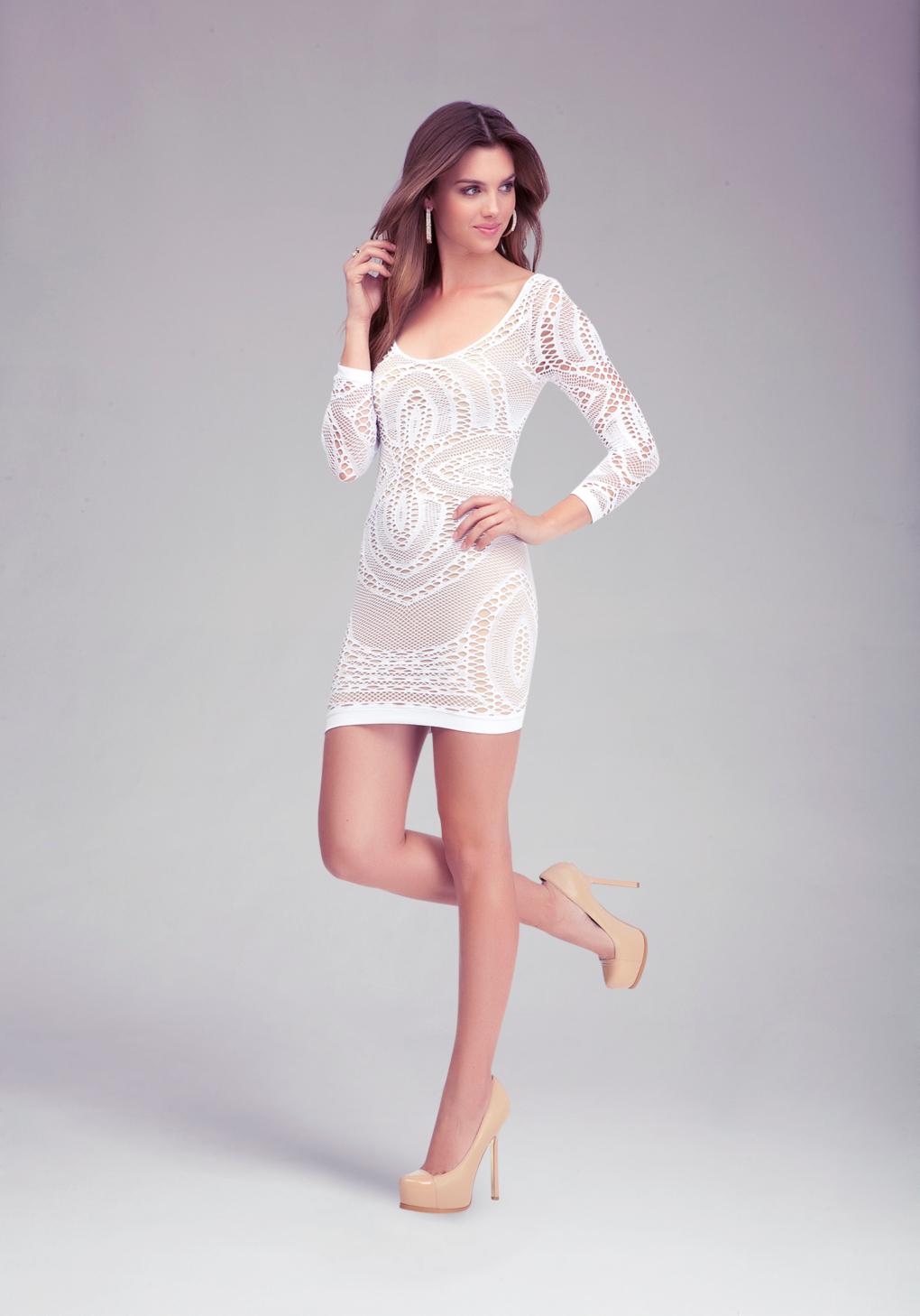 Lyst Bebe Crochet Lace Bodycon Dress In White