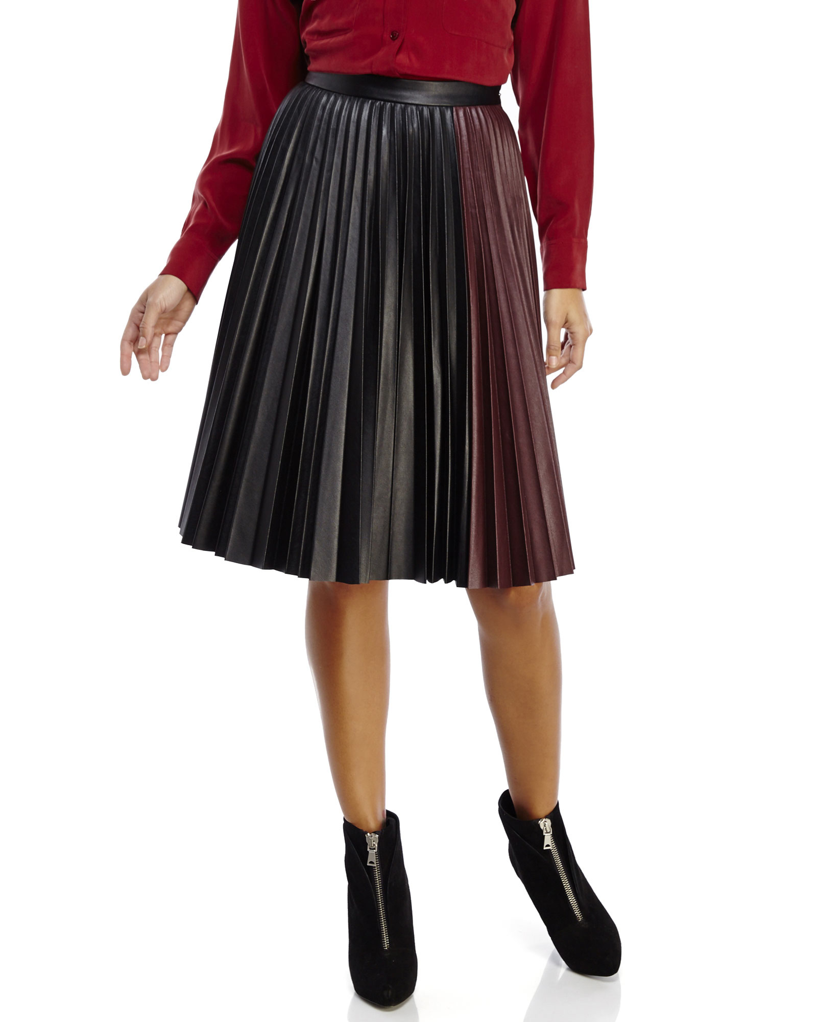 1.state Pleated Faux Leather Midi Skirt in Purple | Lyst