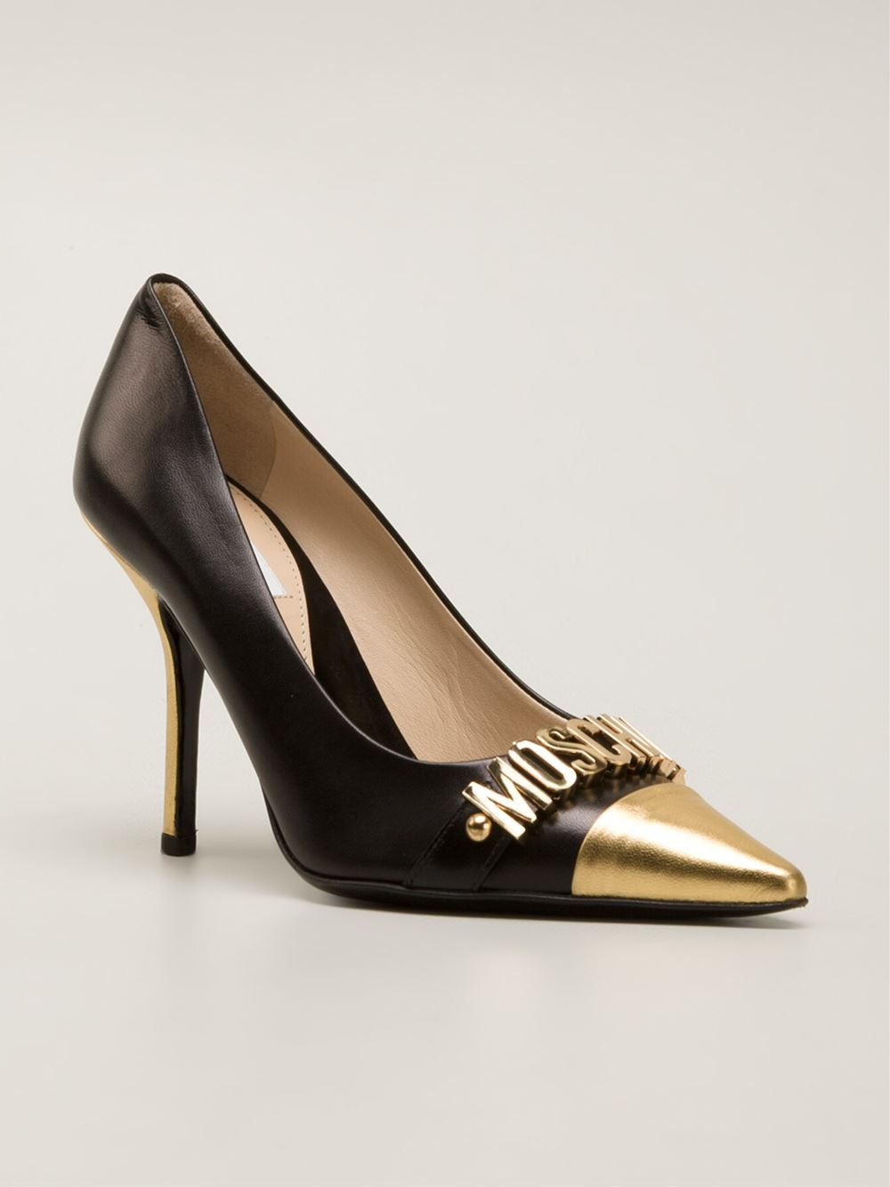 Lyst Moschino Logo Pumps In Metallic