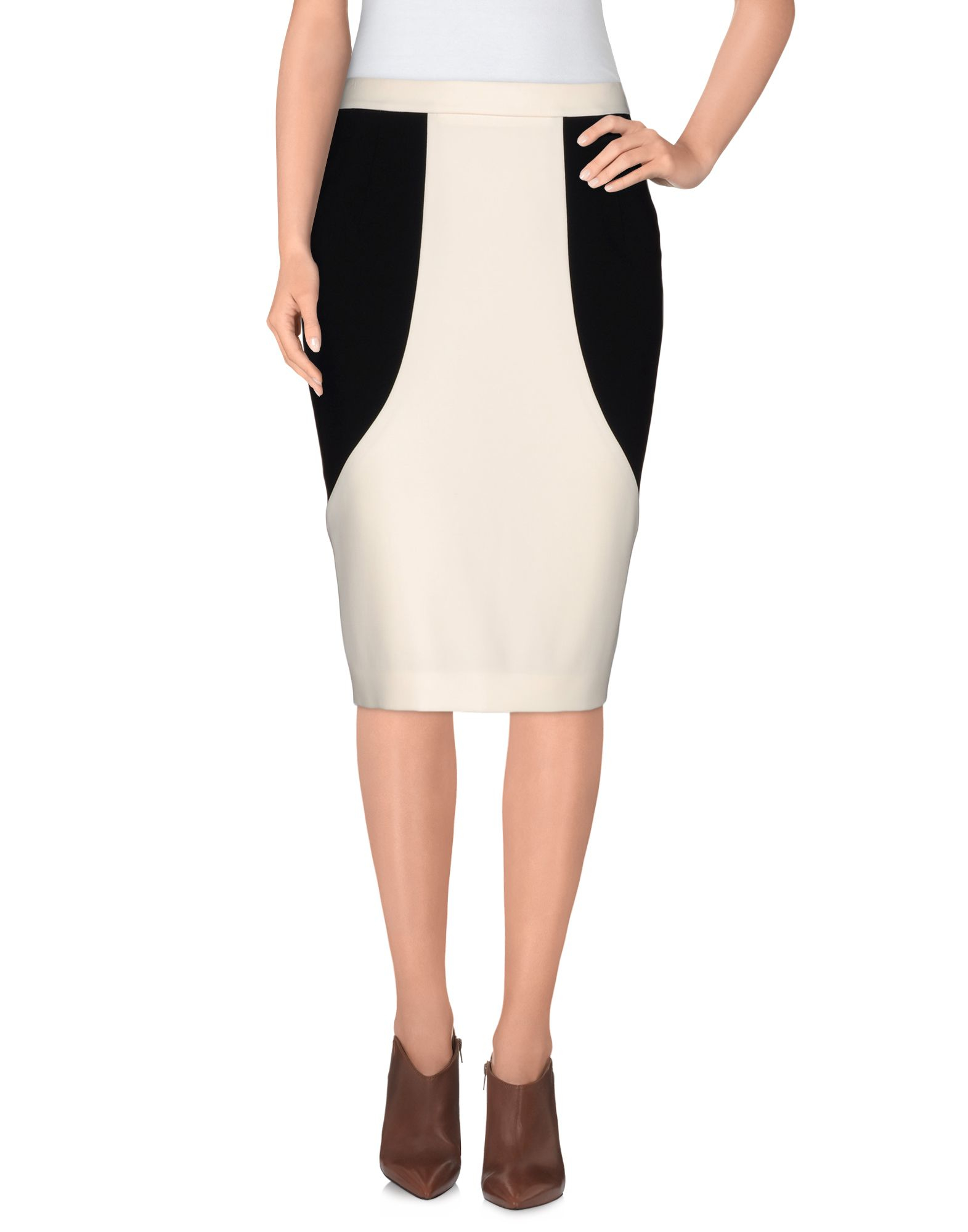 boutique moschino knee length skirt in white lyst