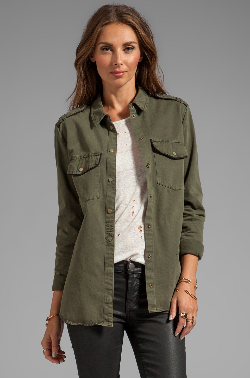 Sanctuary Army Shirt Jacket in Green | Lyst