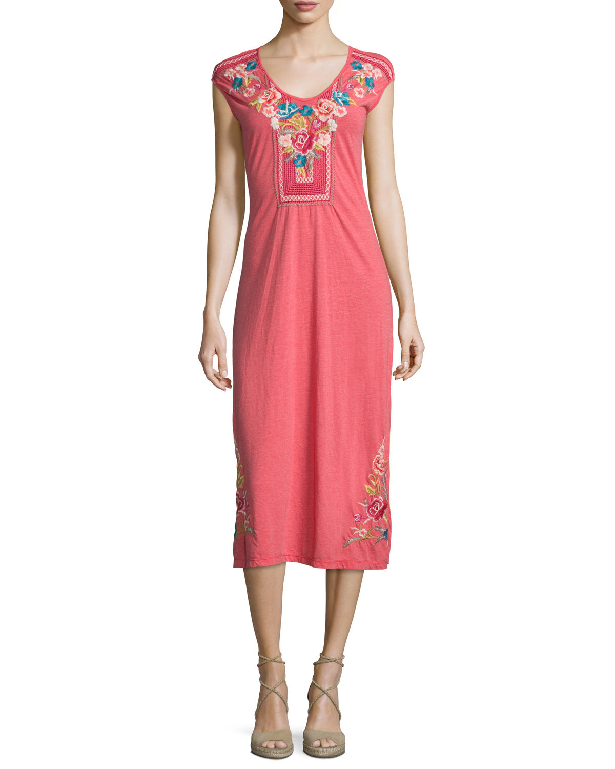 Johnny Was Callista Cap Sleeve Maxi Dress In Red Picnic