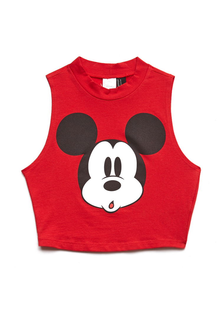 26766daf493 Forever 21 Hey Mickey Crop Top in Red - Lyst