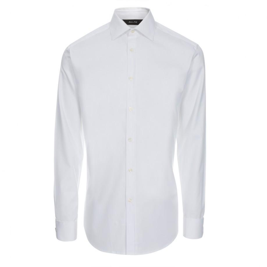 Lyst paul smith men 39 s white diamond jacquard double cuff for Mens white cufflink shirts