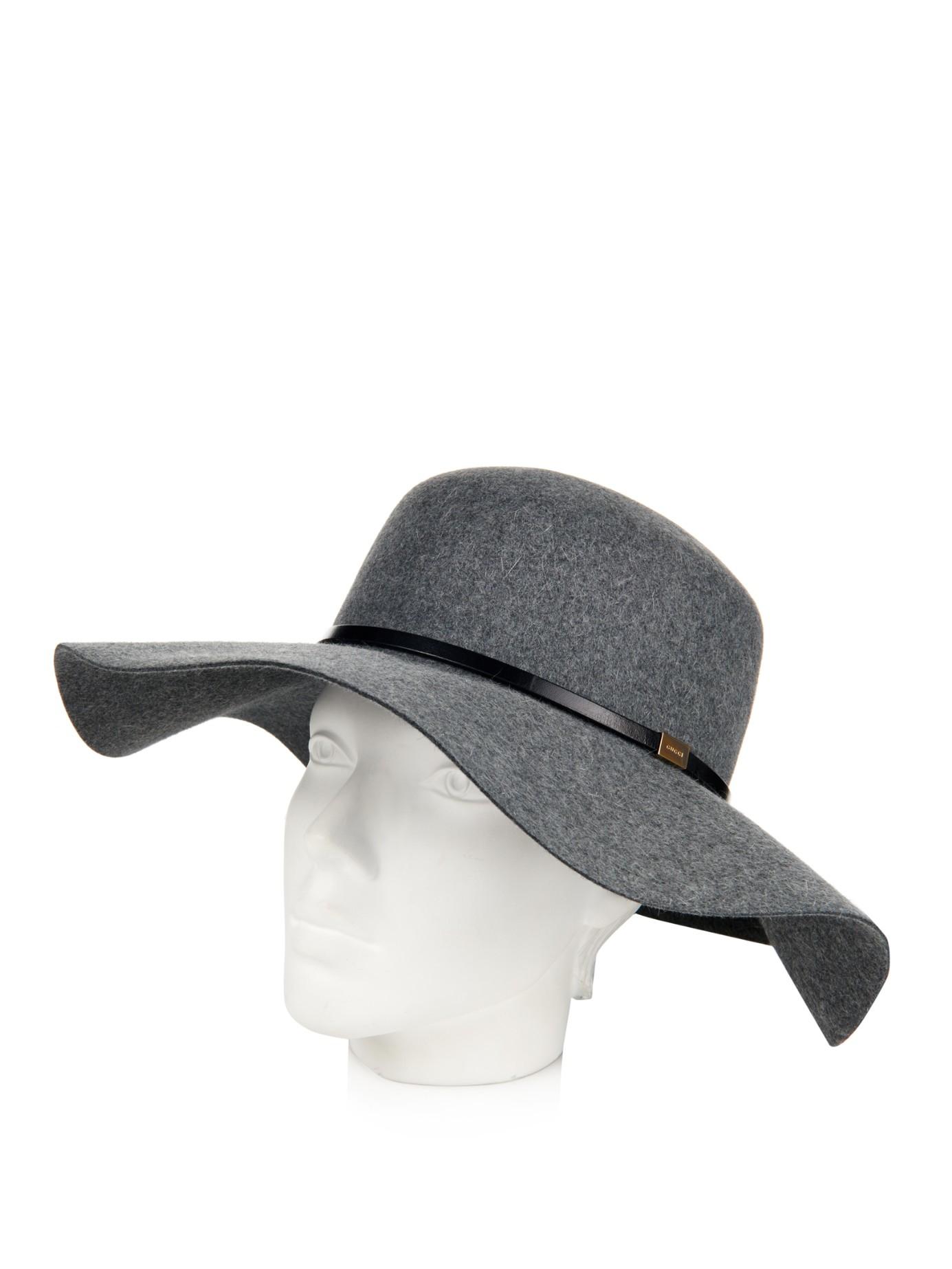 a956aaa6651 Lyst - Gucci Wide-Brim Fur-Felt Hat in Gray
