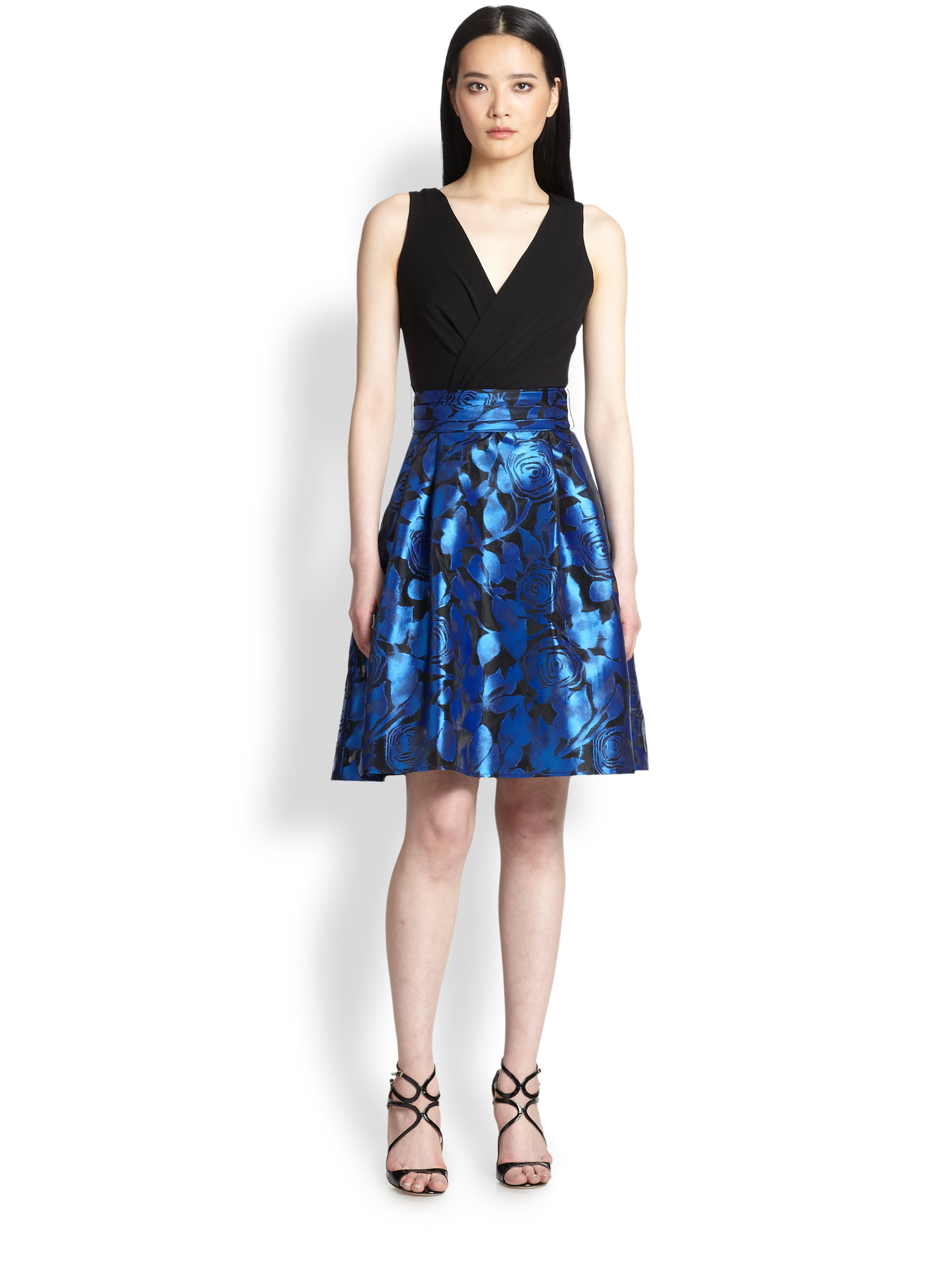 Lyst Teri Jon Jersey Floral Print Dress In Blue