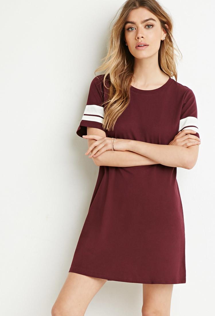 Forever 21 Varsity-striped T-shirt Dress in Purple | Lyst