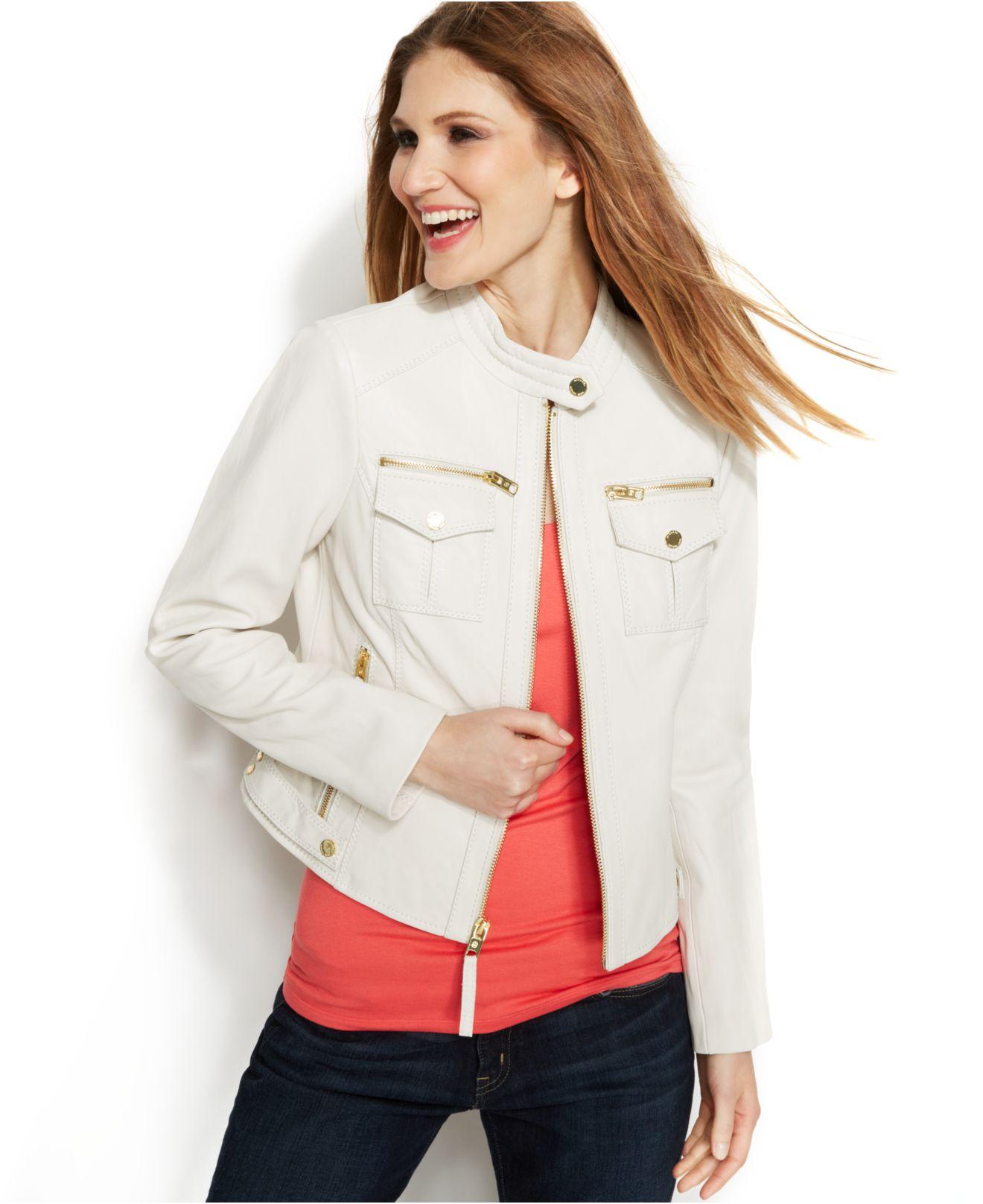 2409534e7247 Lyst - Michael Kors Michael Petite Leather Moto Jacket in White